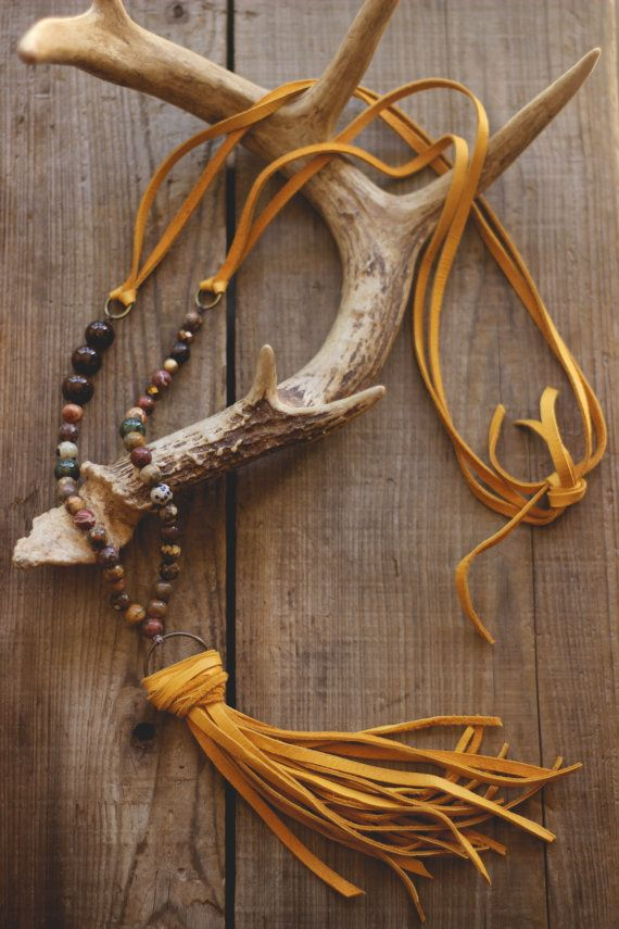 boho deerskin lace gold tassel necklace by beigeandbarn on Etsy