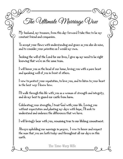 Free Printable - The Ultimate Marriage Vow - Time-Warp Wife | Time-Warp Wife