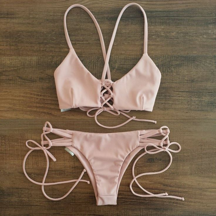 Keep it simple and sexy as hell.Own it, ONLY $16.1, ladies! 100% cool and chic feeling just comes from Hot Blush Lace-up Front Crossed Back Two Piece Swimwear. See more stylish collection at AZBRO.COM !