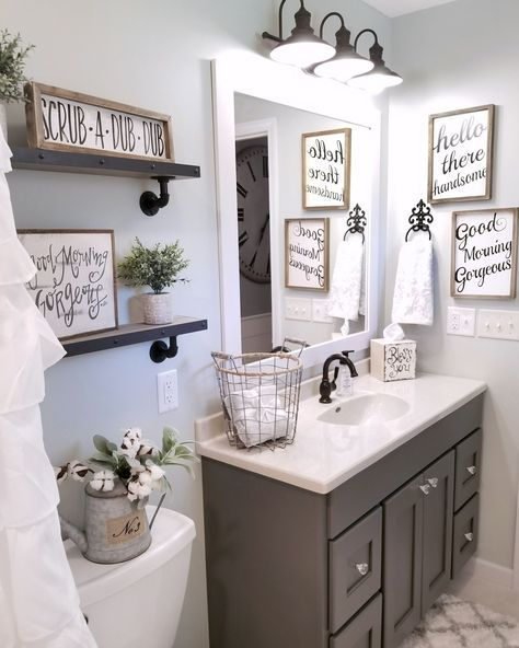 Best 25 grey bathroom decor ideas on pinterest half for Washroom design ideas