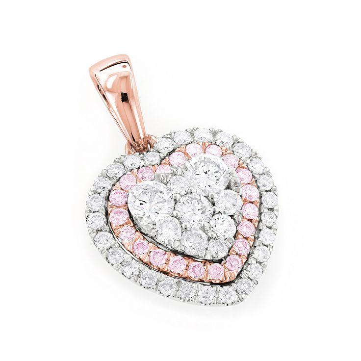 Herz Diamantanhänger Pavée mit 1.00 Karat aus 585er Rosegold. Ein Diamantanhänger von www.juwelierhausabt.de