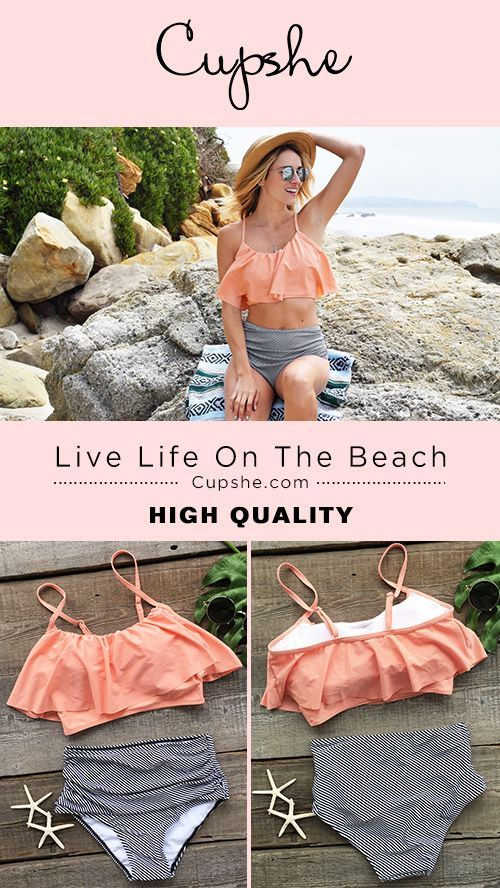 Treat Yourself to Something Special. Cupshe can give you best of the best. Cute soft piece as Cupshe Seaside Gale Falbala High-waisted Bikini Set! Show Now!