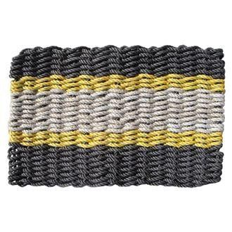 Black, Yellow, Seafoam Lobster Rope Doormat: Medium (18in x 30in) . $39.95. Looking for a more conservative 3-color Lobster Rope Doormat? This Black, Yellow, Seafoam combo is for you! Handsome and warm with just the right amount of sunny yellow, it's handwoven out of genuine Maine float-rope and always stands out to your guests.Rich in Maine history, Lobster Rope Doormats are not only eco-friendly but whale-friendly, too. Float-rope in the ocean used to entangle the Northern Ri...