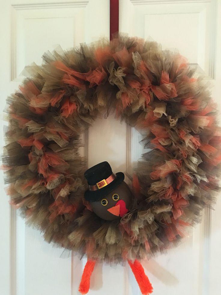 thanksgiving turkey wreath diy tulle purchased from joann fabrics orange brown tan