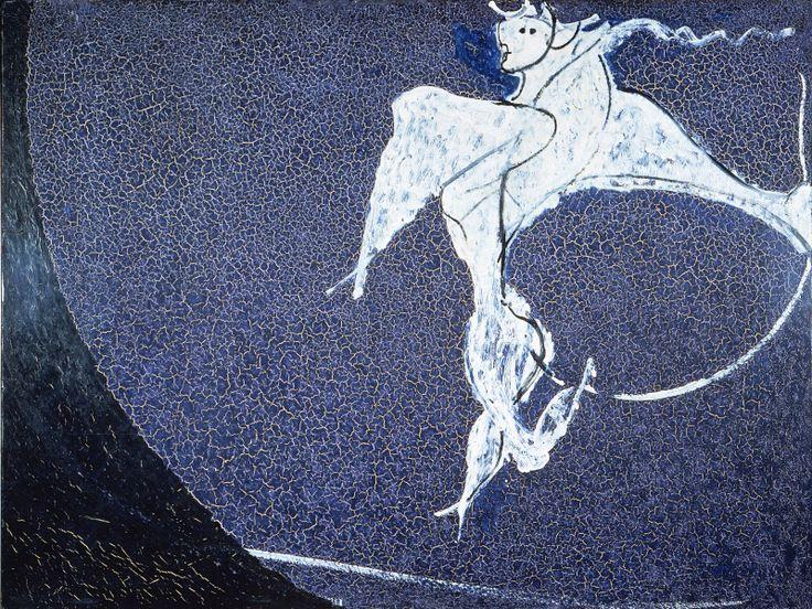 Angelo ribelle su fondo blu cupo (1952). Opera di Osvaldo Licini,