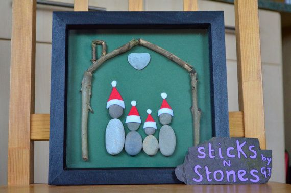 Pebble Art Work Framed Picture 'Family at by SticksNStonesbyGJ