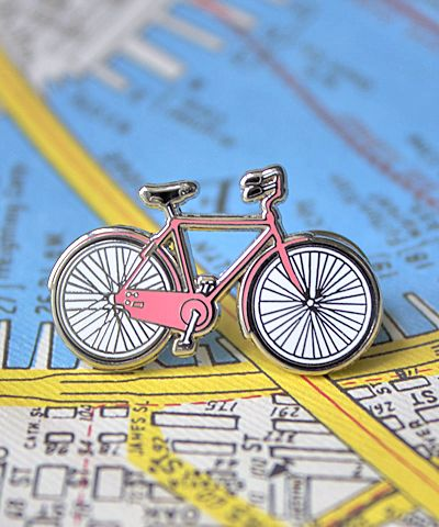 Enamel Bicycle Pin in Pink