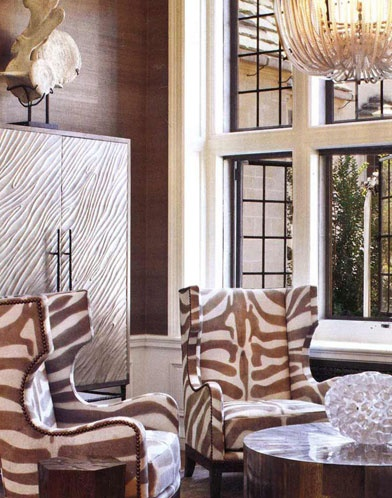 wing backs in brown zebra print with nailhead trim detailLights Fixtures, Sitting Area, Room Decor Ideas, Living Room, Animal Prints, Zebras Prints, Sitting Room, Design, Decor Blog