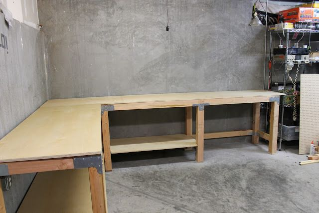 an L shaped garage workbench.