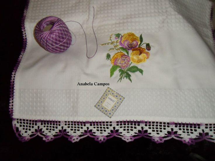 Rendas da Mãe: Pano de cozinha com picô em crochet