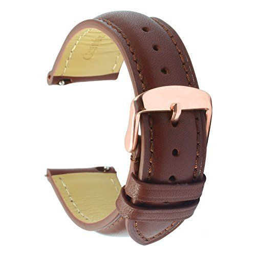 aa9b18da7 Quick Release Leather Watch Band 20mm Brown Replacement Watch Strap Genuine  Polished Watch Clasp Buckle Gold
