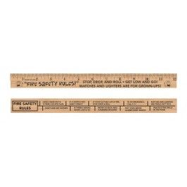 "Stretch's ""Fire Safety Rules"" 12"" Wooden Ruler"