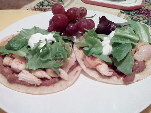 Try this fresh and tasty idea and re-define your idea of a tostada! Homemade hummus chicken and veggies over toasted��_