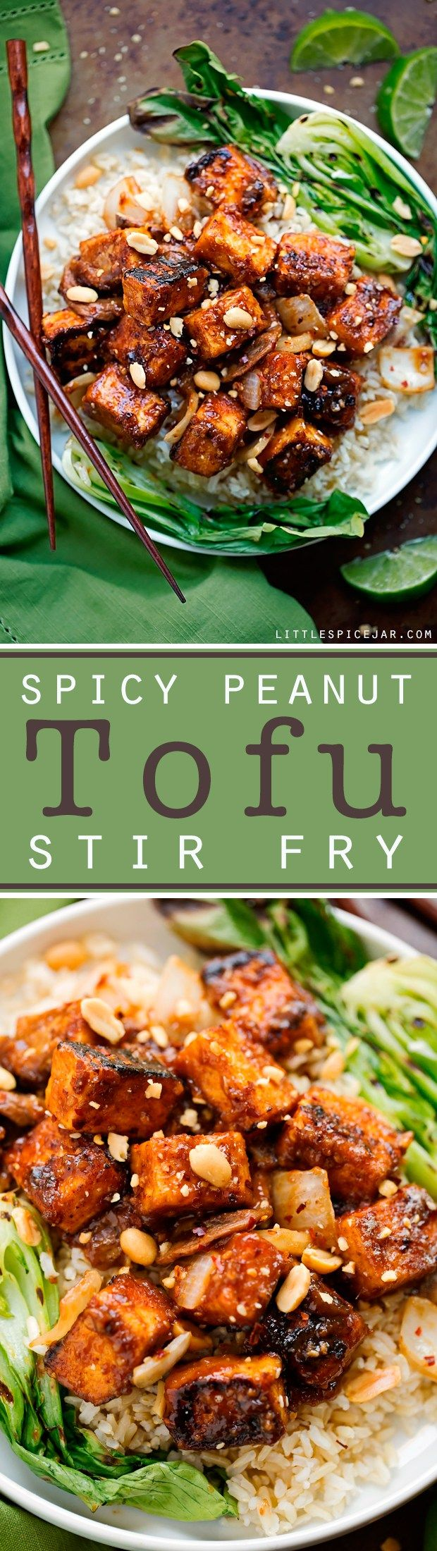 Spicy Peanut Tofu Stir Fry - Loaded with flavor and it's vegetarian/vegan/gluten�