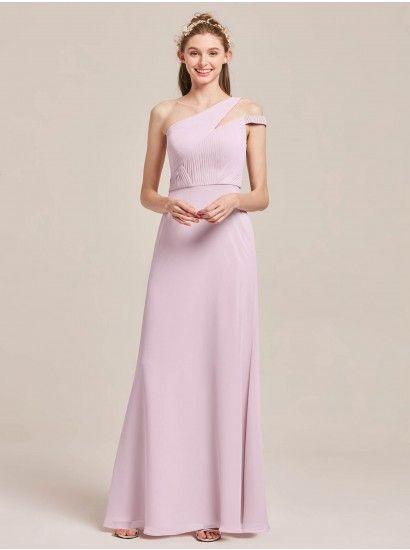 Karin One Shoulder Pleated Long Bridesmaid Dress  37b5b4fb3b9f