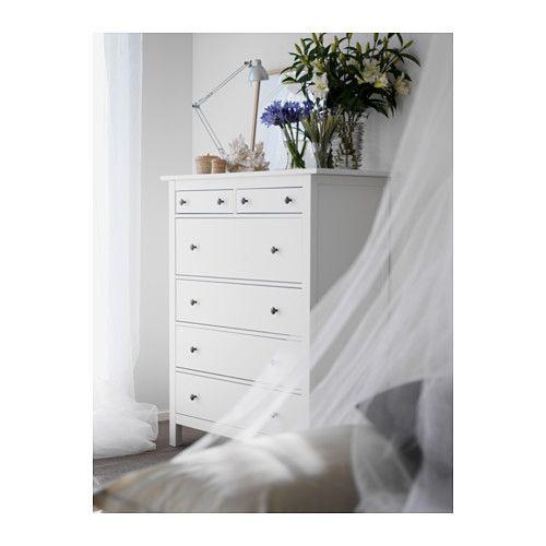 HEMNES 6-drawer chest, white stain white stain 42 1/2x51 5/8