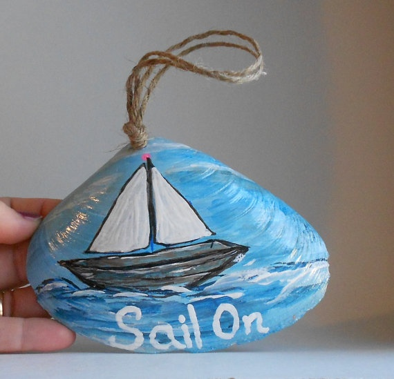 Sail on Hand painted sea shell art wall hanging by 1022SeaShellAve, $26.00