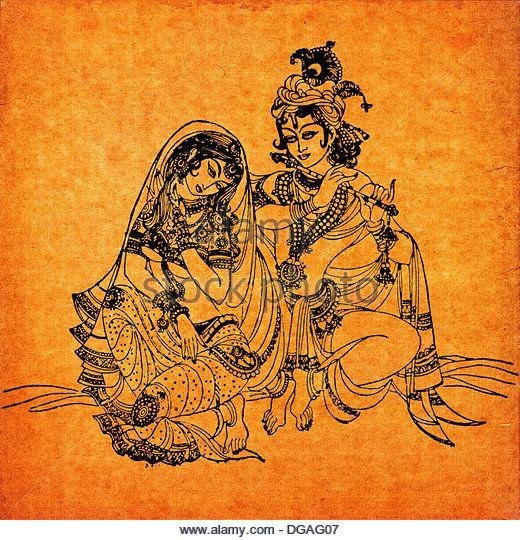 An old Radha Krishna painting, India - Stock Image