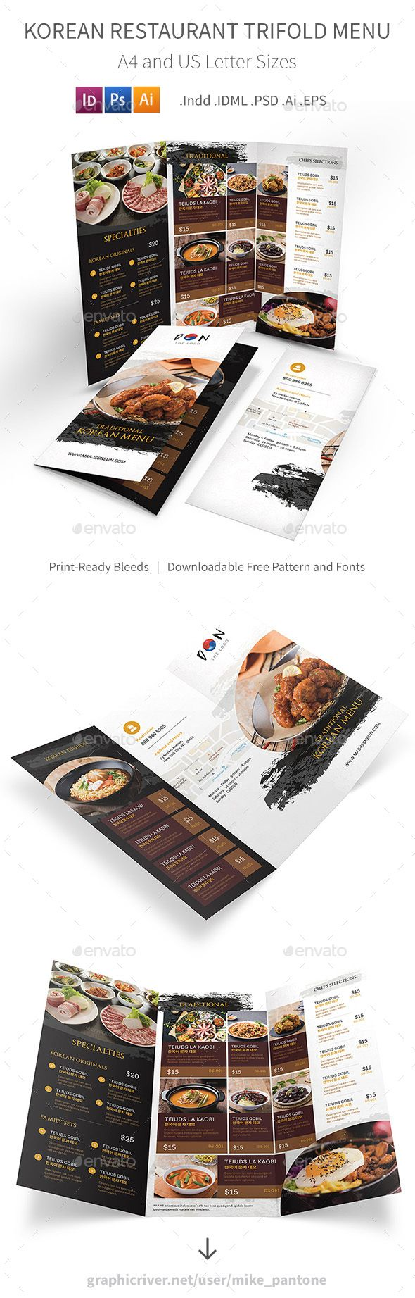 Korean Restaurant Trifold Menu 2 — Photoshop PSD #mike #brochure • Download ➝ https://graphicriver.net/item/korean-restaurant-trifold-menu-2/19250798?ref=pxcr