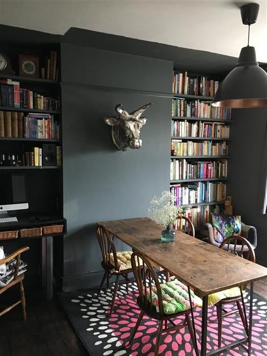 Love this color for a contrast wall...Studio Green? An inspirational image from Farrow and Ball