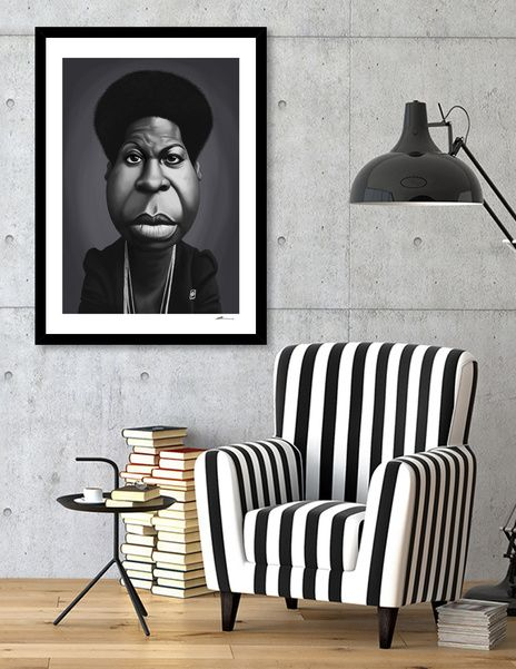Discover «Nina Simone», Numbered Edition Fine Art Print by rob art | illustration - art | decor | wall art | inspiration | caricatures | home decor | idea | humor | gifts