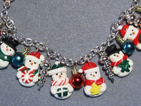 Polymer Clay Snowman Christmas Charm Bracelet  by craftymule