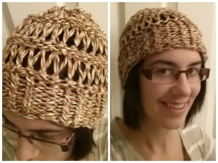 Drop stitch loom knit hat