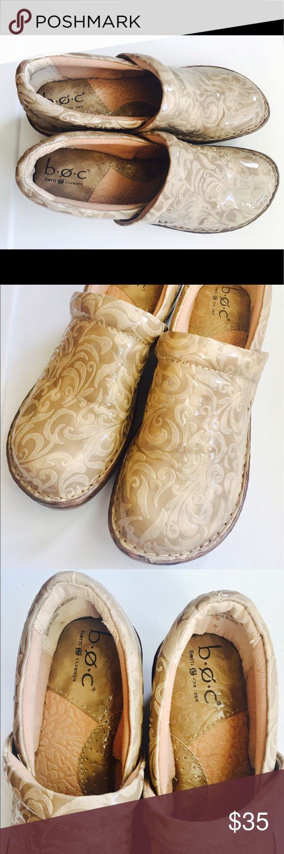 BOC Born Concept Clog Shoes BOC Born Concept Clog Shoes Peggy Beige Leather Tooled  Size 8  Great for Work, Medical, RN, cooks Great preowned condition b.o.c. Shoes Mules & Clogs