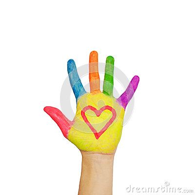 Colorful painted hand with the heart symbol drawn on the palms.