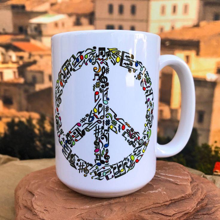 Music and Peace. Peace Symbol  11oz or 15oz Coffee Mug. by FormulaPrintShop on Etsy
