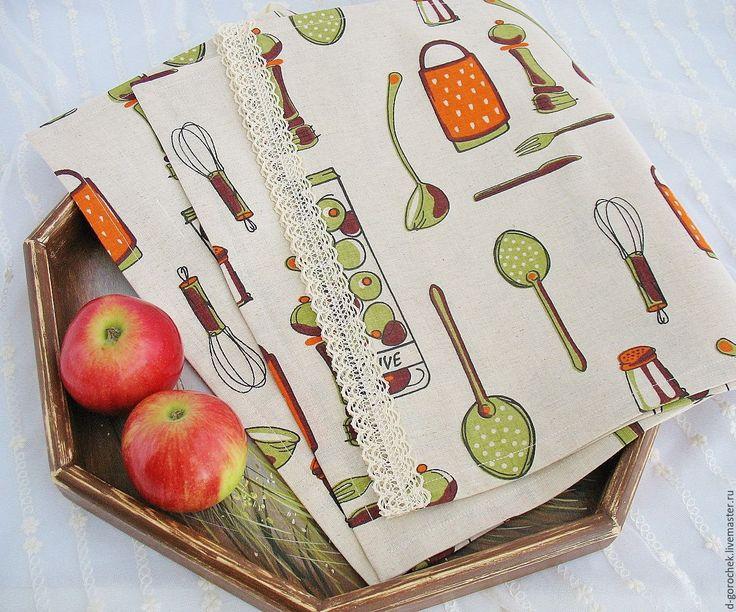 """Купить Набор для кухни """"Оливки"""" - комбинированный, кухонное полотенце, льняное полотенце, полотенце для кухни"""