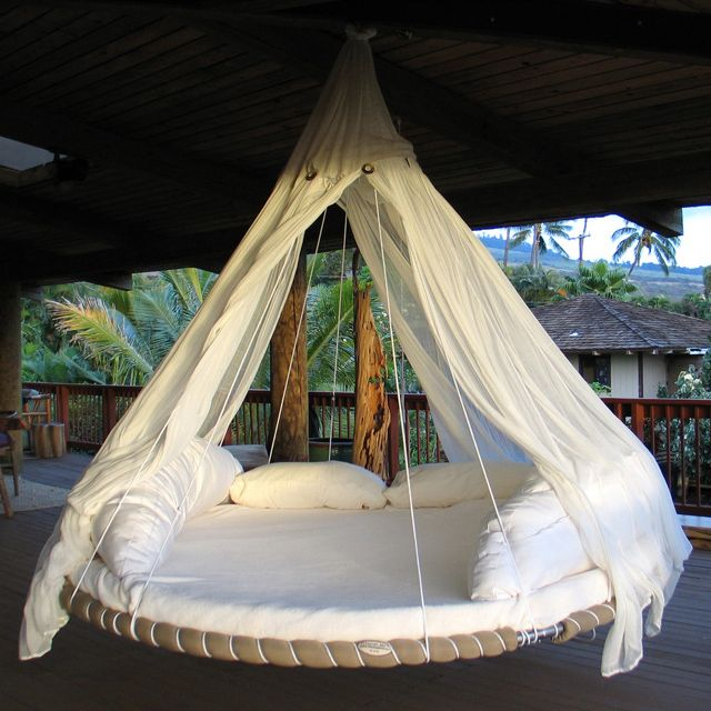Bed+Hammock= Floating Bed. Genius.