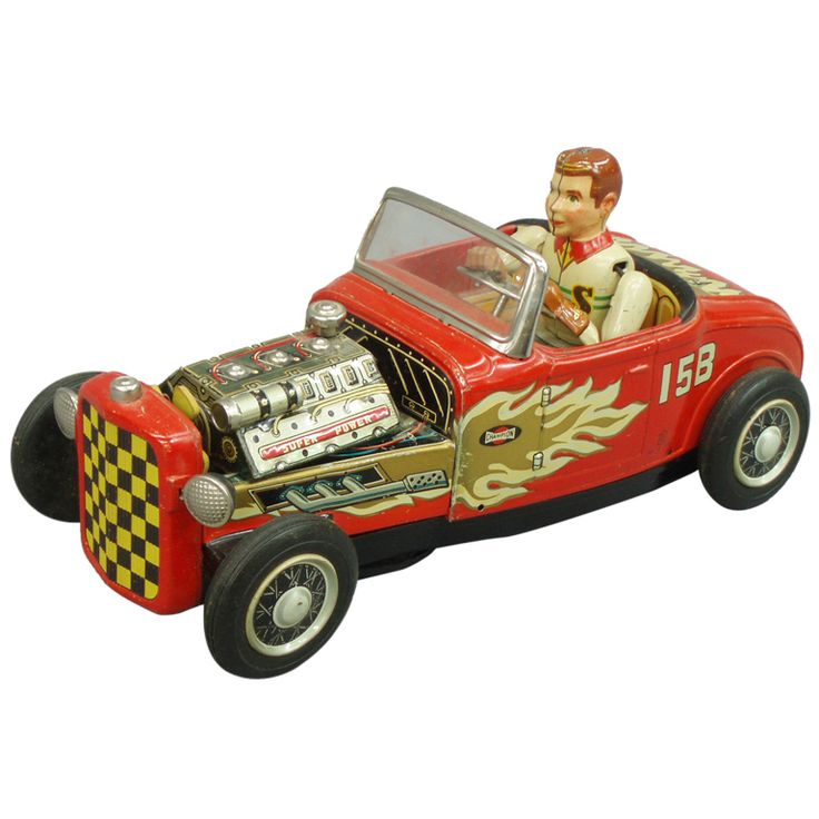 Car Auctions In Nj: Tin Lithographed Hot Rod Toy Car