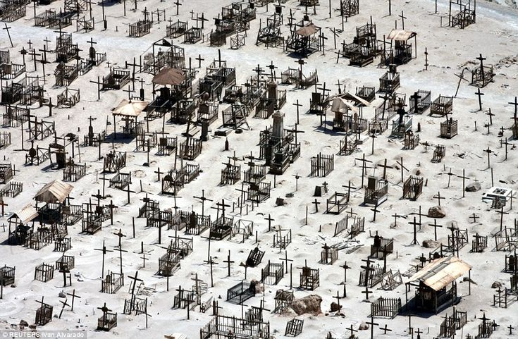 Eerie: Crosses mark out graves in the cemetery of mining town Pisagua in Chile's Atacama desert