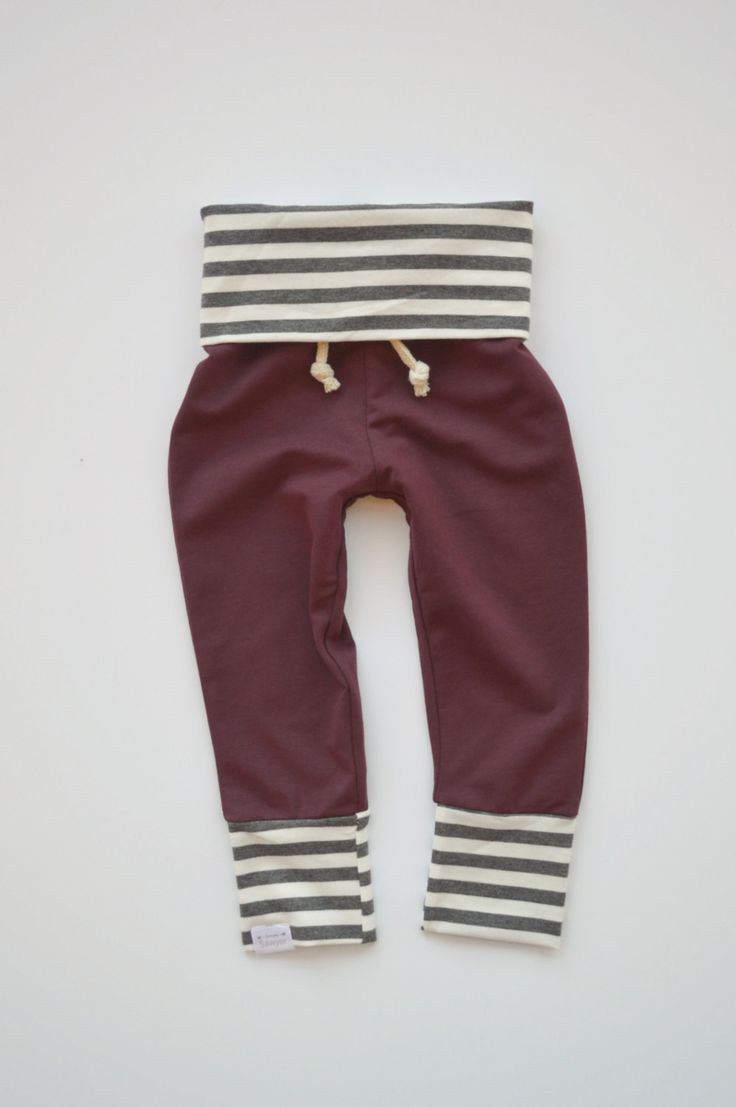 Burgundy & Gray Striped Skinny Sweats
