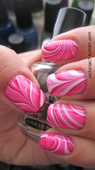 Valentine's Day Pink Water Marble Nails