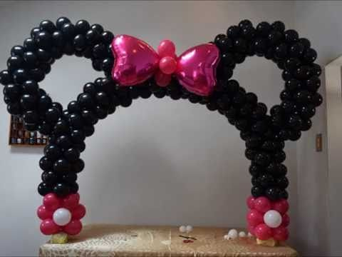 Minnie mouse table balloon arch diy beautiful balloon for Balloon decoration minnie mouse