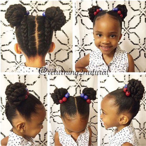 pigtail buns for black girls