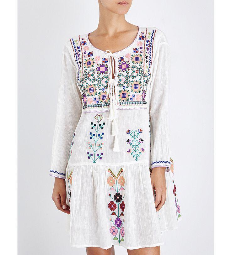 MELISSA ODABASH Millie embroidered cotton-gauze kaftan