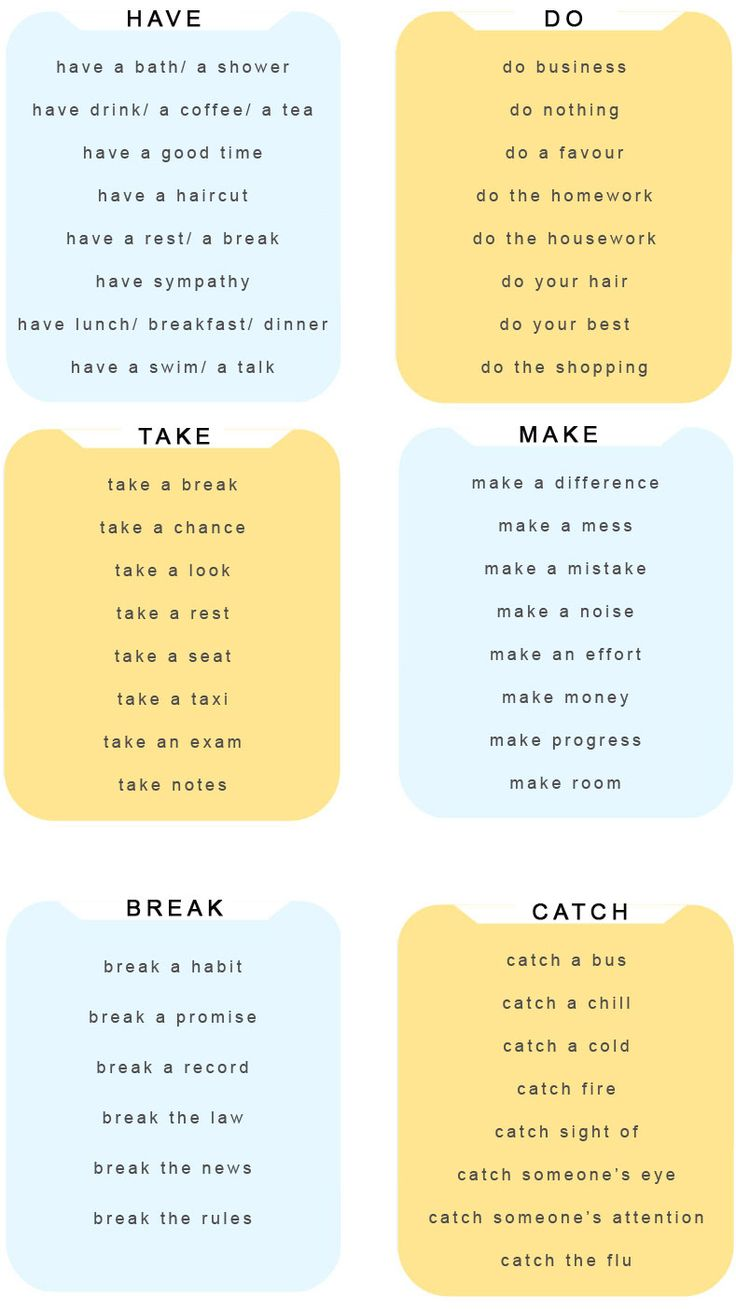 Useful expressions with DO, HAVE, MAKE, TAKE, BREAK, CATCH - learn English,expressions,verbs,english