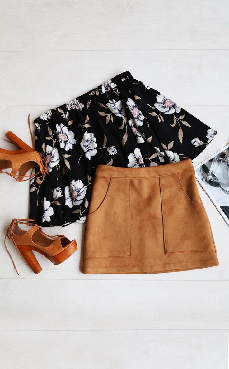 Hipster Fashion: Light of Dawn Black Floral Print Off-the-Shoulder ...
