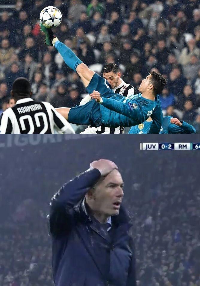 Zinedine Zidane Whose Goal Vs Leverkusen Was Voted Best In Ucl History Reacts To Cristiano Ronaldo S Overhead Ki Cristiano Ronaldo Real Madrid Ronaldo Latest
