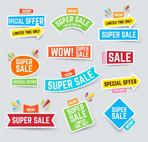 Free EPS file Arrow super sale sticker design vector 01 download