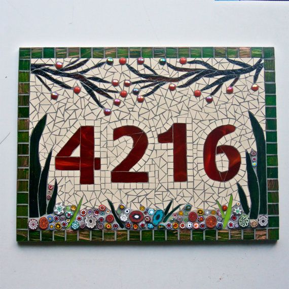Large Custom Made Mosaic House Number or Name Plaque. Handcrafted in the UK from stained glass, ceramic, and Italian millefiori on a Corian base.