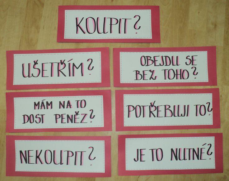 Finanční gramotnost - otázky k nákupu