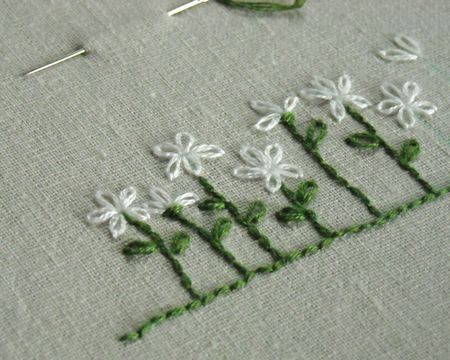 Embroidery.  I would make the flowers different colors to make it more interesting.