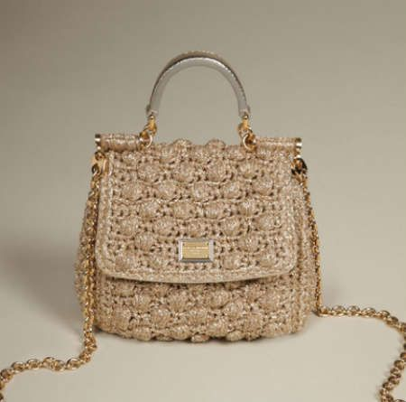 The Sicily Micro by Dolce & Gabbana.   It's crochet cotton and comes with a removable chain strap.