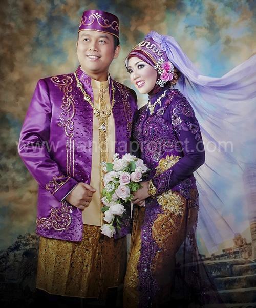 warna ungu untuk busana pengantin