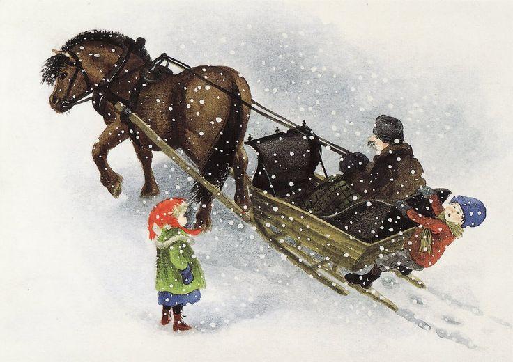 "madicken-lisabet It's an illustration by the legendary Ilon Wikland from (also legendary) Astrid Lindgren's children's book Titta, Madicken, det snöar (""Look, Madicken, it's snowing!"")"