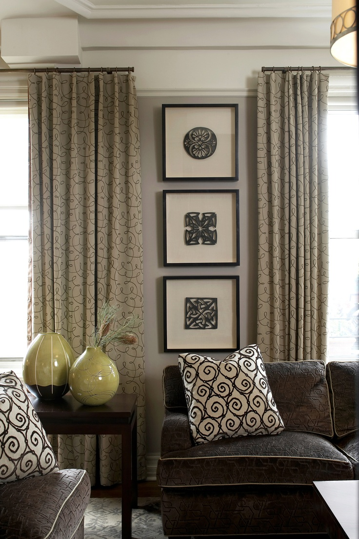 Window Treatment. Very elegant and using a beautiful fabric